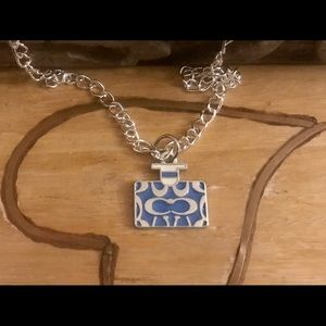 Coach Blue Enamel Pendant .925 Sterling Necklace